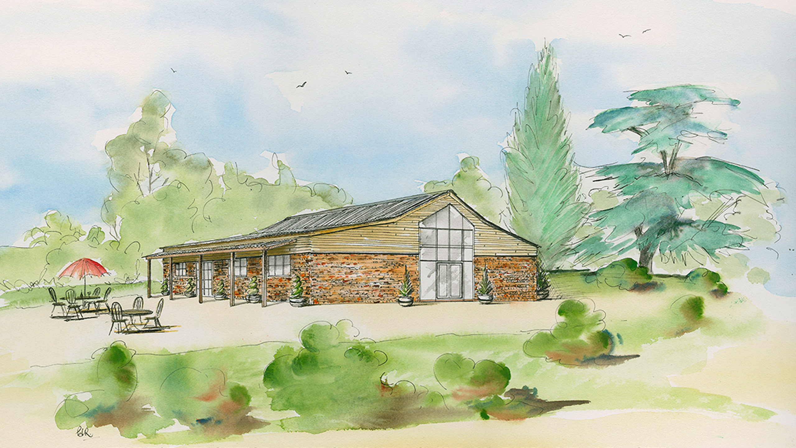 An artist's impression of how Picks Barn may look (view from the south east)